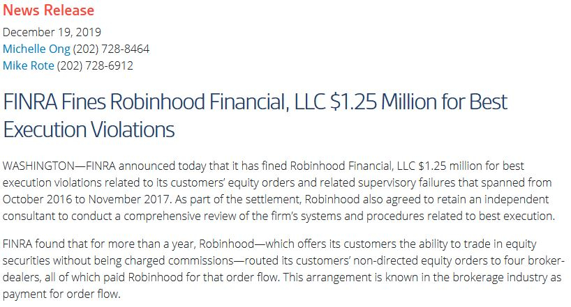 FINRA fines Robinhood $1.25 million for best execution violations